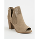 SODA Perforated Peep Toe Womens Booties