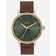 NIXON Kensington Leather Silver Gold & Agave Watch