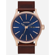 NIXON Sentry Leather Rose Gold Navy & Brown Watch