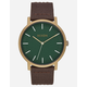 NIXON Porter Leather Palm Green Brass & Brown Watch