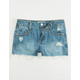 REWASH Mid Rise Crochet Trim Girls Ripped Denim Shorts