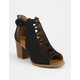SODA Aran Black Womens Peep Toe Booties