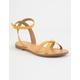 SODA Cross Strap Ankle Wrap Mustard Womens Sandals
