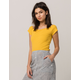 SKY AND SPARROW Ribbed Off The Shoulder Mustard Womens Crop Tee