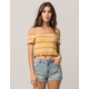 SKY AND SPARROW Smocked Stripe Mustard Womens Crop Top