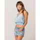 SKY AND SPARROW Lace Up Light Blue Womens Cami