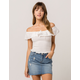 IVY & MAIN Smocked Linen Womens Off The Shoulder Top