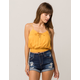 SKY AND SPARROW Lace Up Mustard Womens Cami