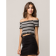 SKY AND SPARROW Smocked Stripe Black Womens Crop Top