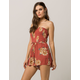 BAND OF GYPSIES Smocked Floral Womens Romper