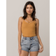 BOZZOLO Ribbed Criss Cross Mustard Womens Crop Tank Top