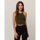 BOZZOLO Dark Olive High Neck Womens Tank Top