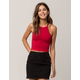 BOZZOLO Red High Neck Womens Tank Top