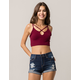 AMBIANCE Cross Front Burgundy Womens Crop Cami