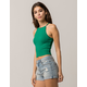 AMBIANCE High Neck Green Womens Crop Cami
