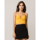 AMBIANCE Mustard Lace Up Womens Cami
