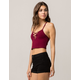 AMBIANCE Burgundy Lace Up Womens Cami