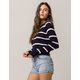 SKY AND SPARROW Navy Stripe Womens Crop Sweater
