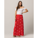 SKY AND SPARROW Floral Button Front Maxi Skirt