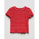FULL TILT Stripe Lettuce Edge Black Girls Tee