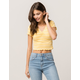 FULL TILT Cinch Front Ribbed Yellow Womens Crop Tee