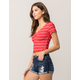 FULL TILT Cinch Front Ribbed Red Womens Crop Tee