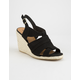 QUPID Caged Espadrille Black Womens Wedges