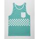 BLUE CROWN Checker Stripe Mens Tank Top