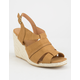 QUPID Caged Espadrille Tan Womens Wedges