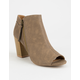 QUPID Peep Toe Taupe Womens Booties