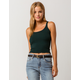 BOZZOLO Ribbed Racerback Dark Green Womens Tank Top