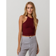 BOZZOLO High Neck Burgundy Womens Crop Tank Top