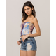 SKY AND SPARROW Purple & Blue Tie Dye Womens Tube Top