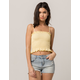 IVY & MAIN Smocked Yellow Womens Crop Cami