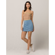 SKY AND SPARROW Seamed Light Wash Denim Mini Skirt