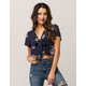SKY AND SPARROW Embroidered Tie Front Womens Crop Top