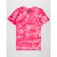 SUPER MASSIVE Pink Crystal Wash Curved Hem Mens T-Shirt