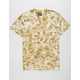 SUPER MASSIVE Khaki Crystal Wash Curved Hem Mens T-Shirt