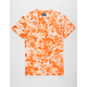 SUPER MASSIVE Orange Crystal Wash Curved Hem Mens T-Shirt