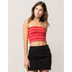TRÈS BIEN Ribbed Stripe Red Womens Tube Top