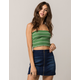 TRÈS BIEN Ribbed Stripe Olive Womens Tube Top