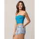 TRÈS BIEN Ribbed Stripe Blue Womens Tube Top
