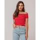 GOOD LUCK GEM Stripe Off The Shoulder Red Womens Crop Tee