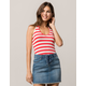 SKY AND SPARROW Ribbed Stripe Womens Halter Top