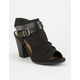 SODA Ruched Peep Toe Black Womens Booties