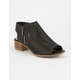 SODA Perforated Block Heel Black Womens Booties