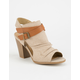 SODA Ruched Peep Toe Taupe Womens Booties