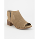 SODA Perforated Block Heel Taupe Womens Booties