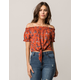 MIMI CHICA Tie Front Womens Off The Shoulder Top