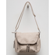 VIOLET RAY Foldover Light Grey Crossbody Bag